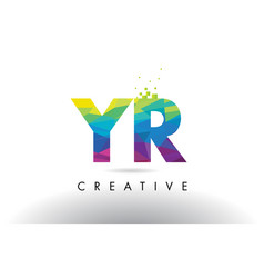 Yr y r colorful letter origami triangles design vector