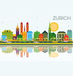 Zurich skyline with color buildings blue sky vector