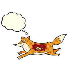 Cartoon fox with mouse in belly with thought vector