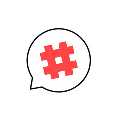 Outline speech bubble with red hashtag vector