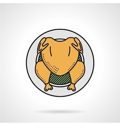 Roasted chicken flat color icon vector image