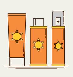 sunscreen care sun protection cosmetics cream vector image vector image