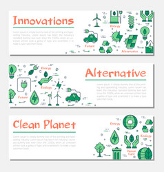 three ecology horizontal banners vector image vector image