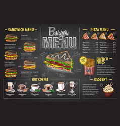 Vintage chalk drawing burger menu design fast food vector