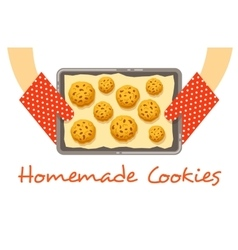 Hands hold a hot pan with fresh baked cookies vector image vector image