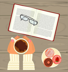 Hot coffee book and glasses vector