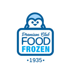 premium club food frozen since 1935 label for vector image