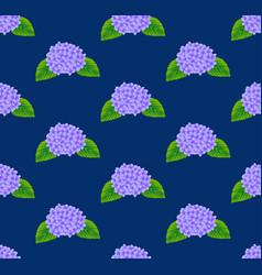 purple hydrangea flower seamless on indigo blue vector image vector image