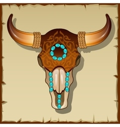 Bull skull inlay closeup vector image