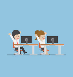businessman stretching and relaxing at the desk vector image