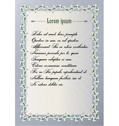 Certificate frame with vintage bindweed ornament vector image