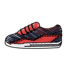 color drawing pencil cartoon sneaker sport shoes vector image vector image