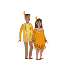 Couple In Nothern America Indians National Clothes vector image vector image