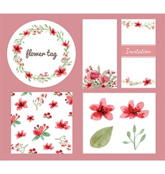Flower decoration design set vector image vector image