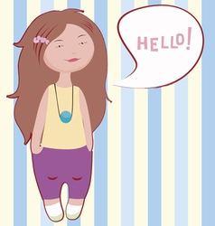 hello little girl vector image vector image