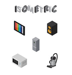 Isometric device set of television vac kitchen vector
