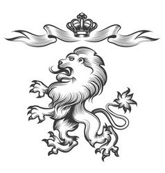 lion with crown in engraving style vector image