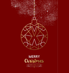 merry christmas new year bauble ball outline gold vector image vector image