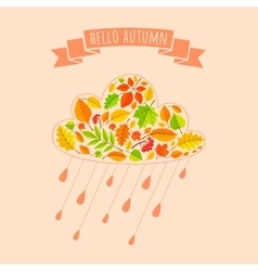 Rain cloud from fall leaves vector image vector image