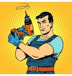 Repair work with a drill vector image vector image