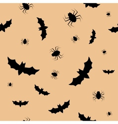 Seamless pattern with bats and spiders vector image vector image