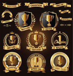 trophy and awards laurel wreath golden collection vector image