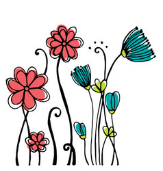 design of hand drawn doodle flowers set on white vector image