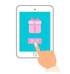 e commerce flat man push buy vector image vector image