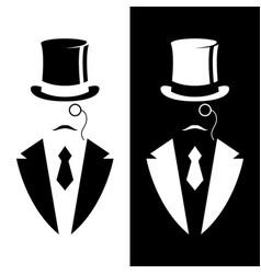gentleman in tuxedo and vintage hat vector image vector image