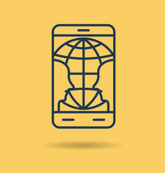 icon two people communicate by smart phone vector image vector image