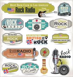 Rock music radio station labels vector image vector image