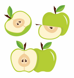set green apples with leaves vector image