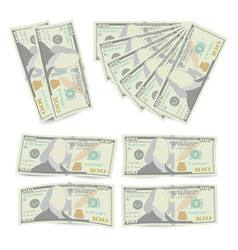 100 dollars banknote stack one hundred vector