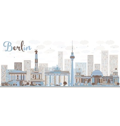 Abstract Berlin skyline with color building vector