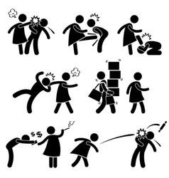 abusive wife girlfriend weak husband boyfriend vector image