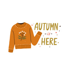 Autumn is here colorful lettering composition with vector