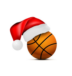 basketball ball with santa claus hat vector image