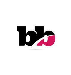 Bb b b pink and black alphabet letter combination vector
