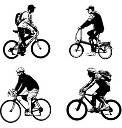 Bicyclist sketch silhouettes vector
