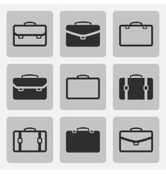 briefcase black icons set vector image