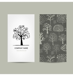 Business card design floral tree vector image