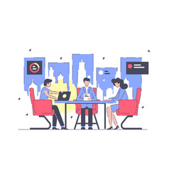 businessman and businesswoman working at meeting vector image