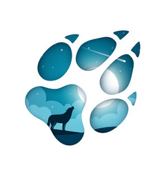 cartoon paper landscape wolf vector image