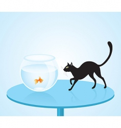cat and fish vector image