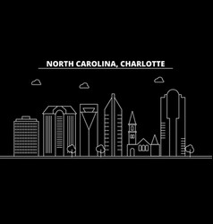 charlotte silhouette skyline usa - charlotte vector image