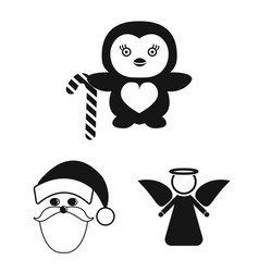 Christmas attributes and accessories black icons vector