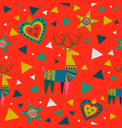 christmas background of colorful deer decoration vector image
