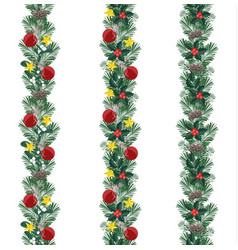 christmas decorative branches with ornaments vector image