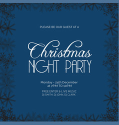 christmas night party snowflake background vector image