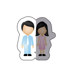 Color couple with black hair icon vector
